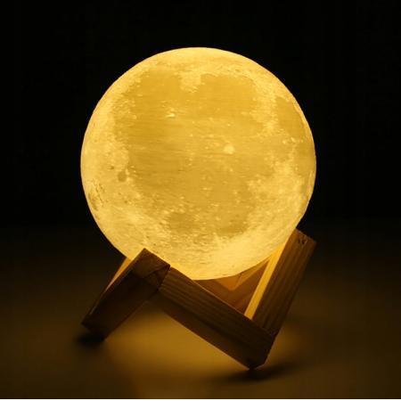 Akumulatorska nočna 3D LED svetilka luna 3000K - 6500K