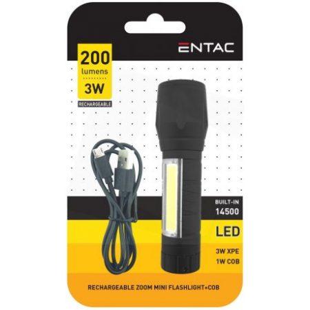 Akumulatorska USB ALU LED žepna svetilka 3W 200lm zoom