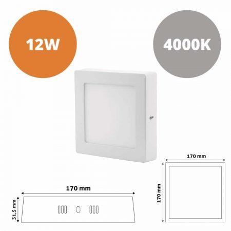 ALU LED nadgradni panel kvadratni 12W nevtralno bela 4000K