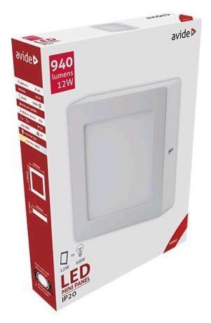 ALU LED nadgradni panel kvadratni 12W toplo bela 3000K