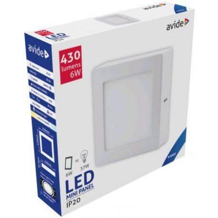 ALU LED nadgradni panel kvadratni 6W hladno bela 6400K