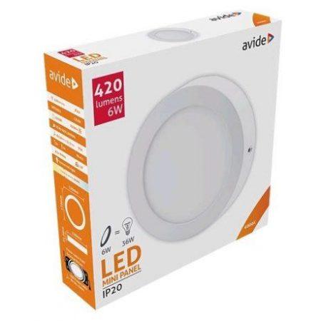 ALU LED nadgradni panel okrogli 6W nevtralno bela 4000K