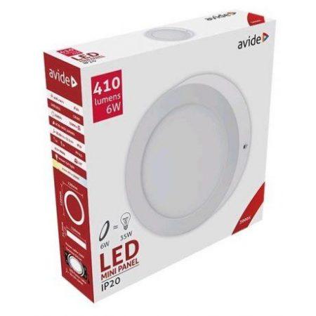 ALU LED nadgradni panel okrogli 6W toplo bela 3000K