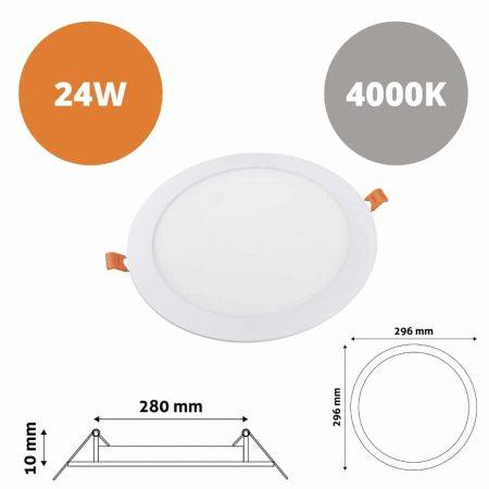 ALU LED vgradni panel okrogli 24W nevtralno beli 4000K
