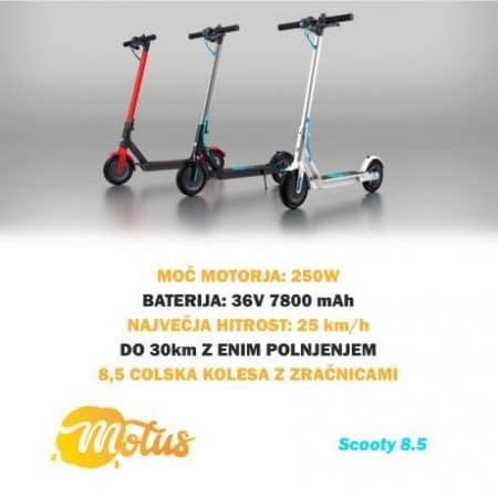 Električni skiro Motus Scooty 8.5 z velikimi kolesi, LCD LED zaslonom, tempomatom in disk zavoro 36V 7800 mAh do 25km/h bel
