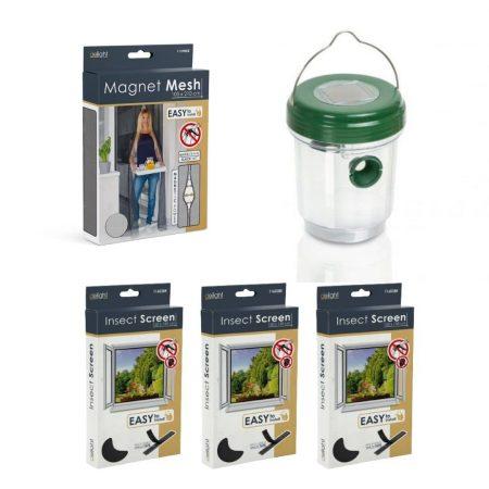 Solarni paket proti komarjem – magnetna mreža za vrata črna 210x100cm + 3x komarnik za okno 150×150cm črn + UV LED solarna past za insekte