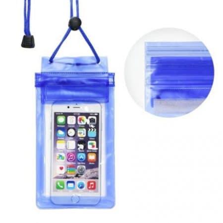 Vodoodporna torbica za mobilni telefon z zadrgo - modra