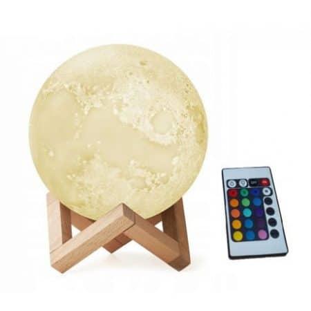 Namizna RGB 3D LED lučka luna z daljincem polnilna