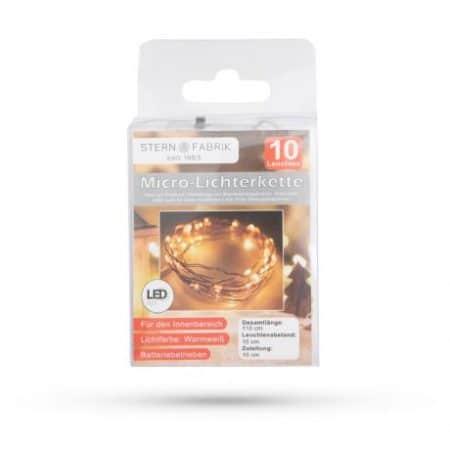 Božično- novoletne micro LED lučke baterije 10 LED toplo bele 1m 2 x AA
