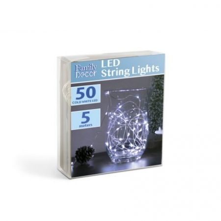 5m božično - novoletne micro LED lučke na baterije 3 x AA hladno bele