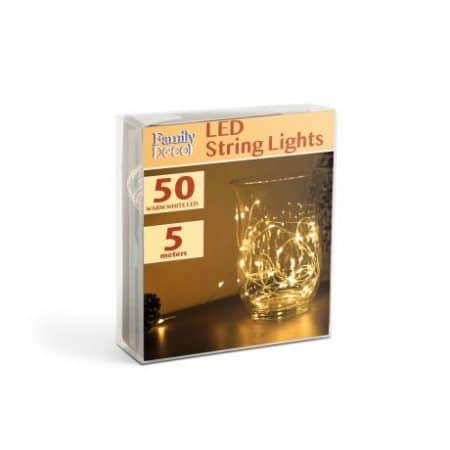 Božično- novoletne micro LED lučke baterije 50 LED toplo bele 5m 3 x AA