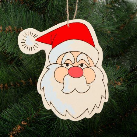 Dekoracija za božično drevo za barvanje - lesena, božiček - 16 x 12 cm