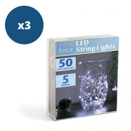 3x 50 LED 5m božično - novoletne micro LED lučke na baterije 3 x AA hladno bele