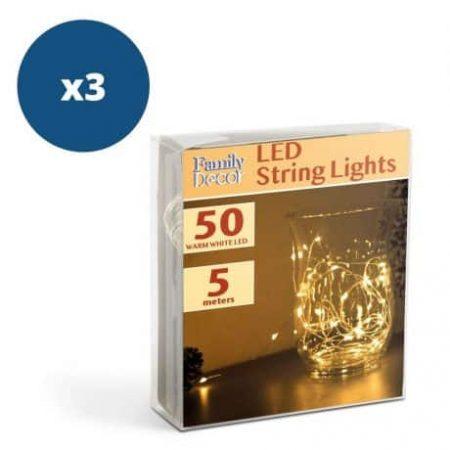 3x 50 LED 5m božično - novoletne micro LED lučke na baterije 3 x AA toplo bele