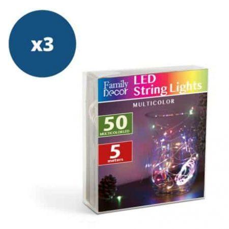 3x 50 LED 5m božično - novoletne micro LED lučke na baterije 3 x AA večbarvne
