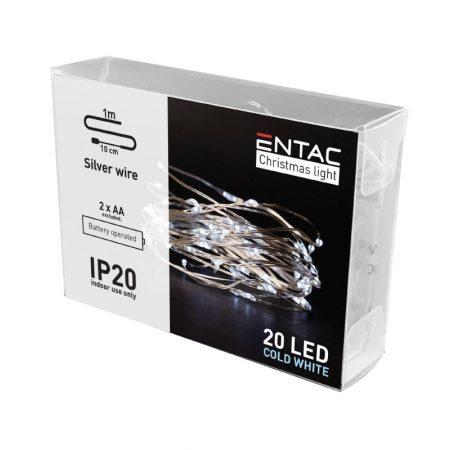 Božične lučke na baterije 20 LED hladno bele 1m (2AA)