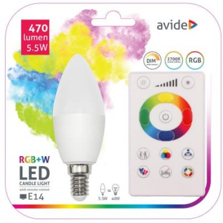 SMART LED sijalka E14 5.5W RGB+W 2700K z daljincem