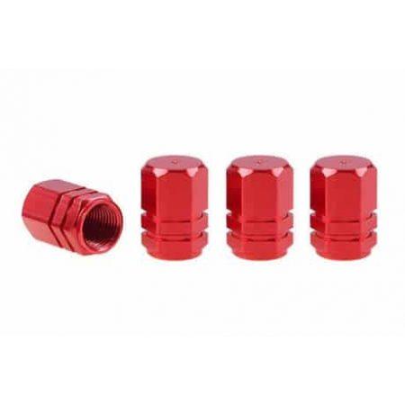 Aluminijasti pokrovčki ventilov pnevmatik rdeči 4 kos