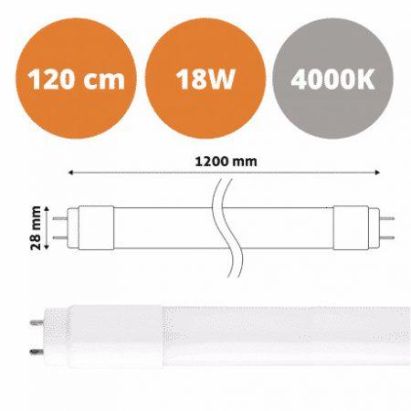 LED žarnica - sijalka cevna T8 G13 120 cm 18W nevtralno bela 4000K steklo