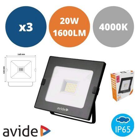 3x LED reflektor SMD 20W nevtralno bela 4000K