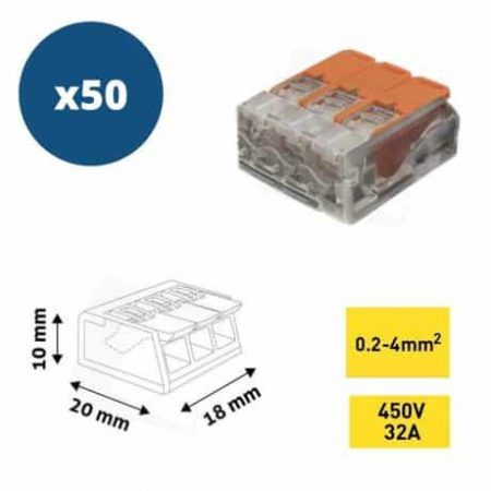 50x hitra sponka 3 pin 450V 32A 0.2-4mm2 trdi in mehki vodnik