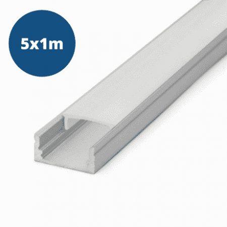 5x 1m ALU LED profil nadgradni 17x8mm mat
