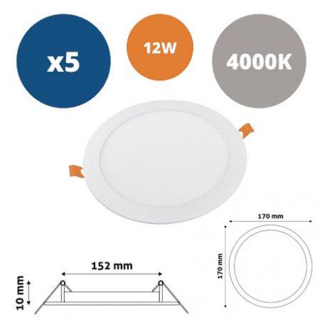 5x ALU LED vgradni panel okrogli 12W nevtralno beli 4000K