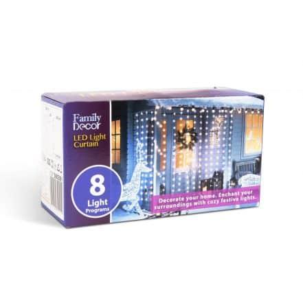 Božična LED svetlobna zavesa - 220 x 150 cm - toplo bela - 8 programov - IP44