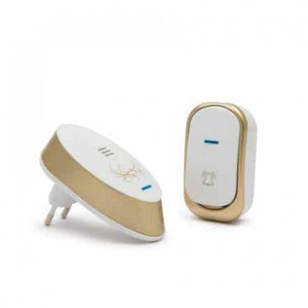 Brezžični električni vratni zvonec dizajnerski bela / zlata