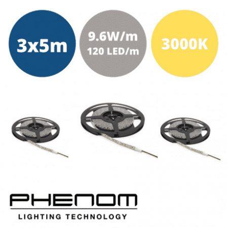 LED trak - 3x5m - 120 LED/m - 9,6W/m - toplo beli 3000K