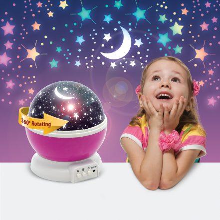 Moon&Star otroška projektorska svetilka za deklice - roza