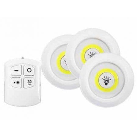Set 3 COB LED svetilk z daljincem 3x1W