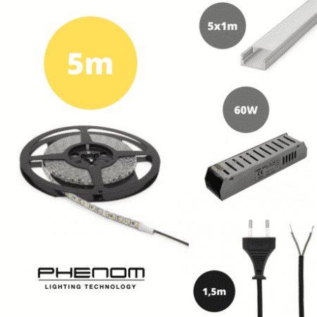 Set 5x 1m ALU profil mat + LED trak 9,6W/m 3000K 5m + napajalnik 60W + priključna vrvica