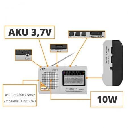 Prenosni radio z MP3 predvajalnikom USB / SD 10W z akumulatorjem 210 x 124 x 57 mm