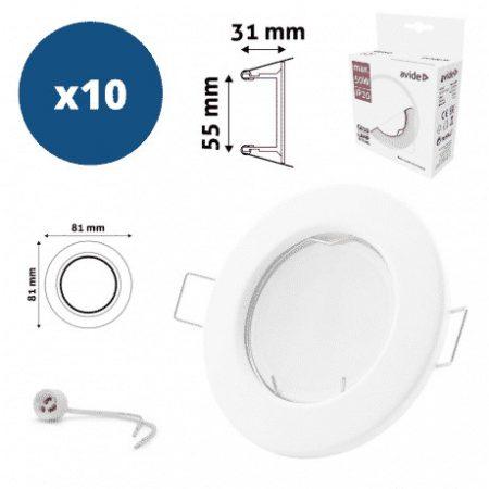 10x GU10 ALU okovje + grlo, belo