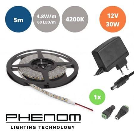 Set LED trak 4,8W/m 4200K 5m + napajalnik 30W + ženski konektor