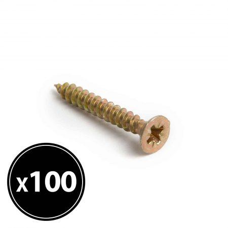 Vijak za iverne plošče - rumen - 3 x 25 mm - 100 kosov / paket