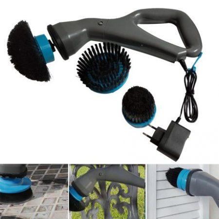 Visoko zmogljiva akumulatorska krtača za čiščenje s 3 zamenljivimi glavami Hurricane Muscle Scrubber