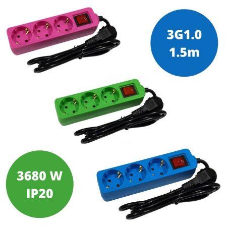 Set 3 barvnih podaljškov - moder, zelen in roza - 3680W - 3G1.0 - na 3 vtičnice s stikalom