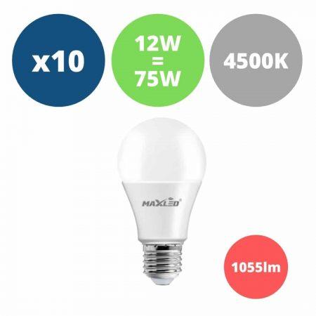 10x LED žarnica - sijalka E27 12W (75W) 1055lm nevtralno bela 4500K