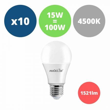 10x LED žarnica - sijalka E27 15W (100W) 1521lm nevtralno bela 4500K