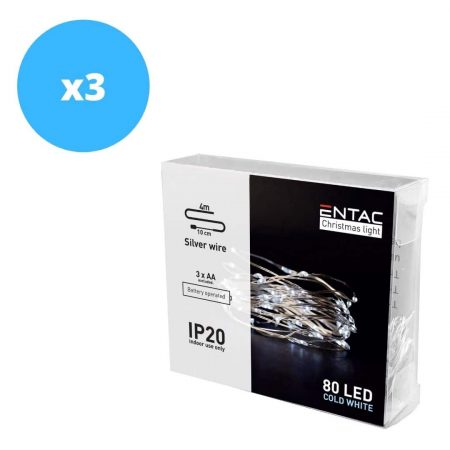 3x 4m 80 LED božično - novoletne micro LED lučke na baterije 3 x AA hladno bele