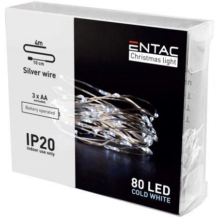 4m 80 LED božično - novoletne micro LED lučke na baterije 3 x AA hladno bele