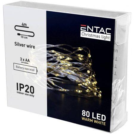4m 80 LED božično - novoletne micro LED lučke na baterije 3 x AA toplo bele
