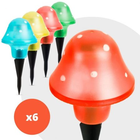 6x LED solarna svetilka v obliki gobe več barv