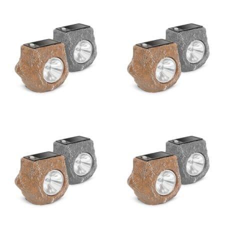8x solarna LED svetilka v obliki kamna