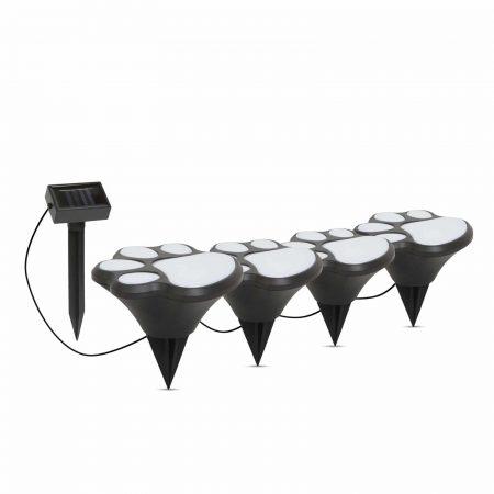 LED solarna svetilka - pasji odtis, plastika - črna - 360 cm