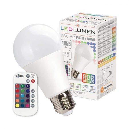 LED žarnica - sijalka E27 A60 10W CCD RGB + WW z daljincem
