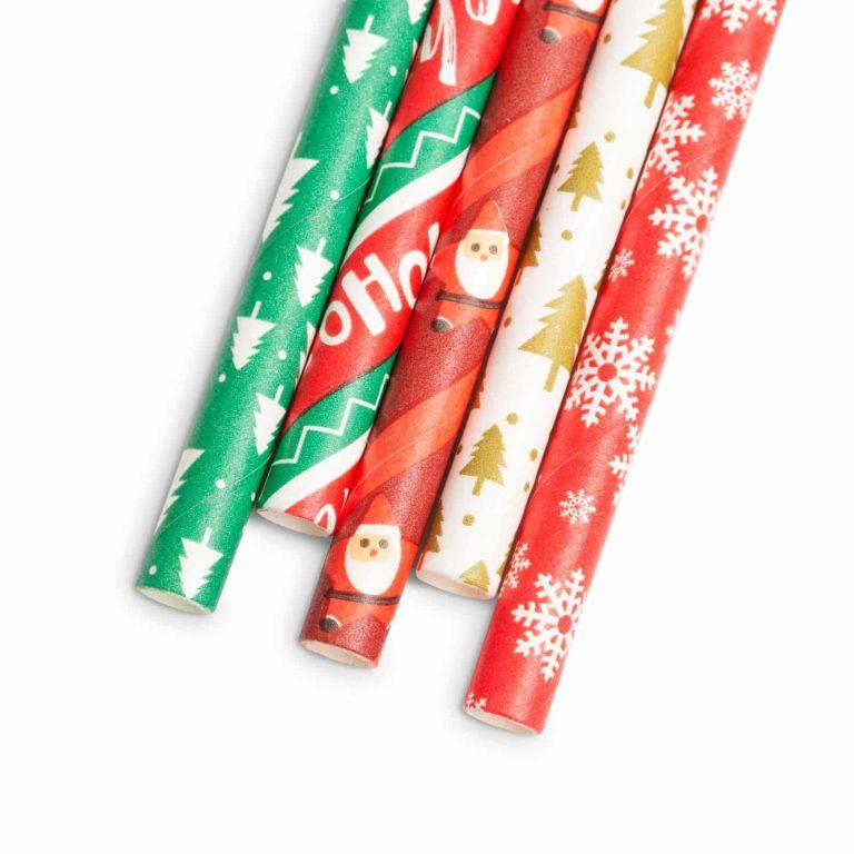 Papirnata slamica - božič - 197 x 6 mm - 25 kosov / paket