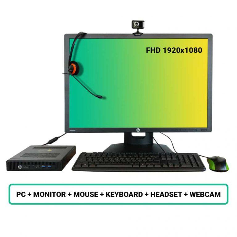 """Refurbished HP set mini i5/8GB/256GB SSD/Intel HD/Win 10 + monitor HP LCD 24"""" + spletna kamera + miška in tipkovnica + slušalke"""